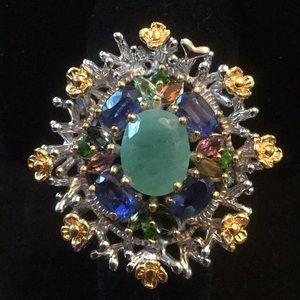 Genuine Emerald, Tourmalines & Kyanite Ring